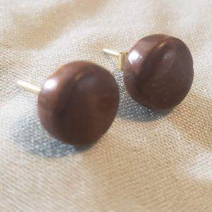 Wood Vintage Earrings Stud Round Circular Post